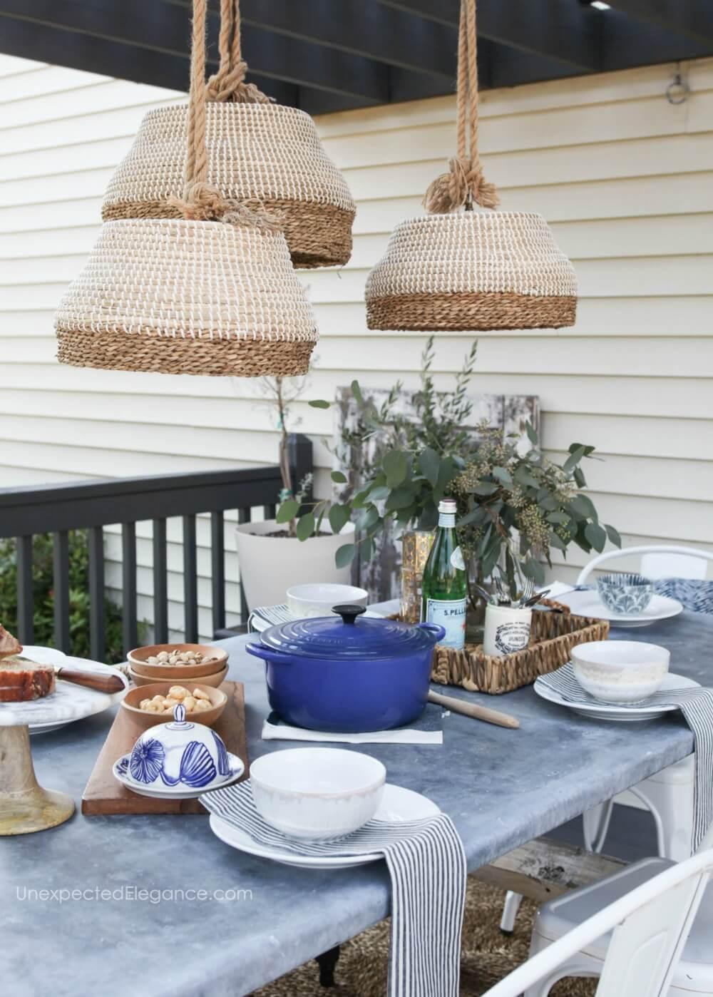 Basket Trio Outdoor Pendant Lighting