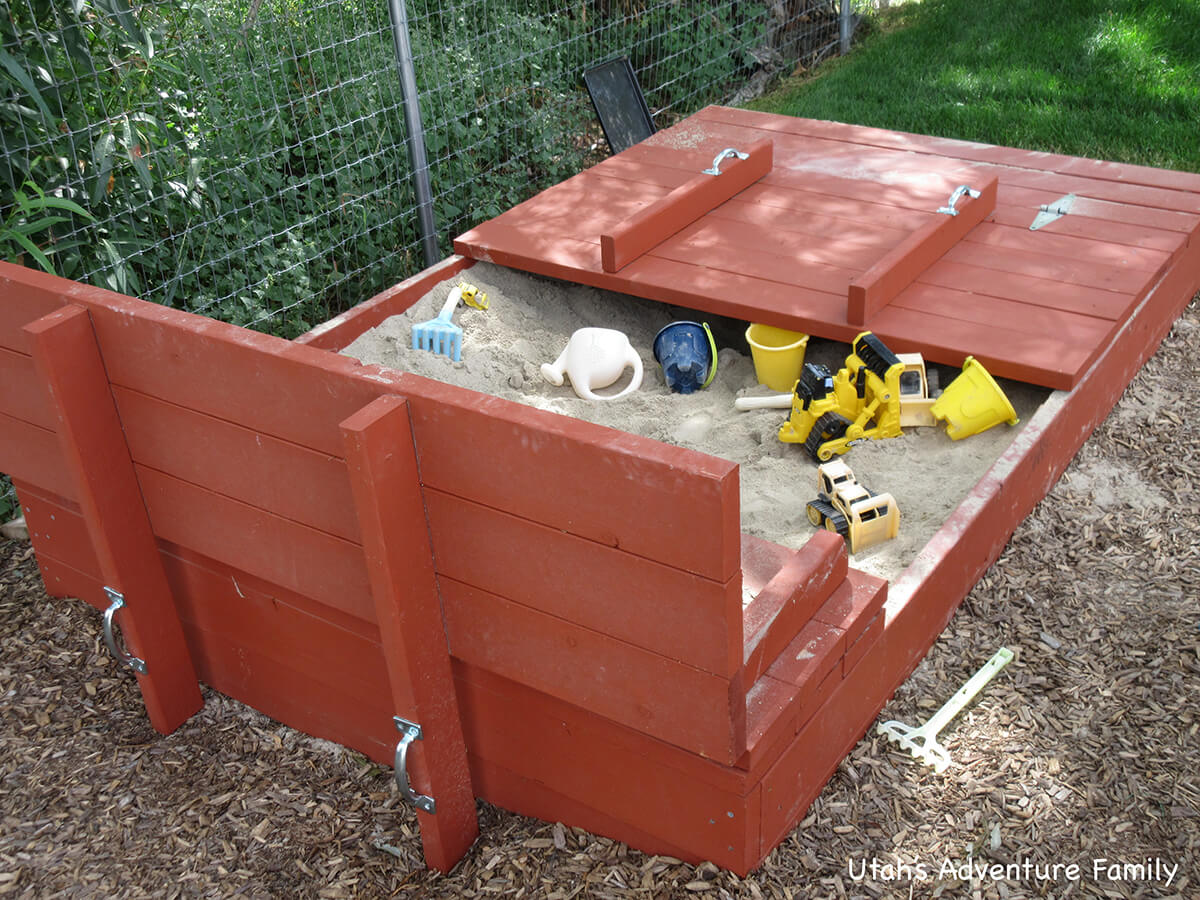Weatherproof Sandbox with Built-In Seats and Lid