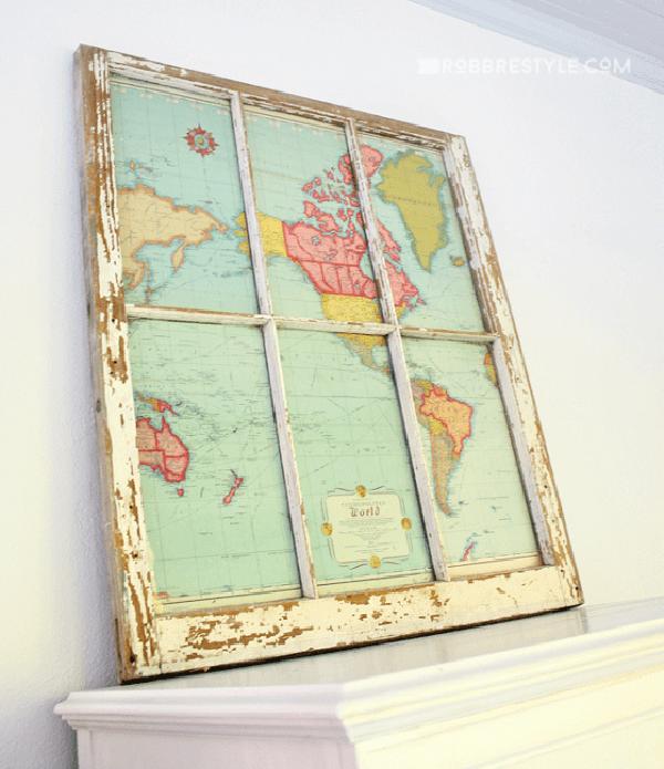 Cool Rustic Window Framed Map
