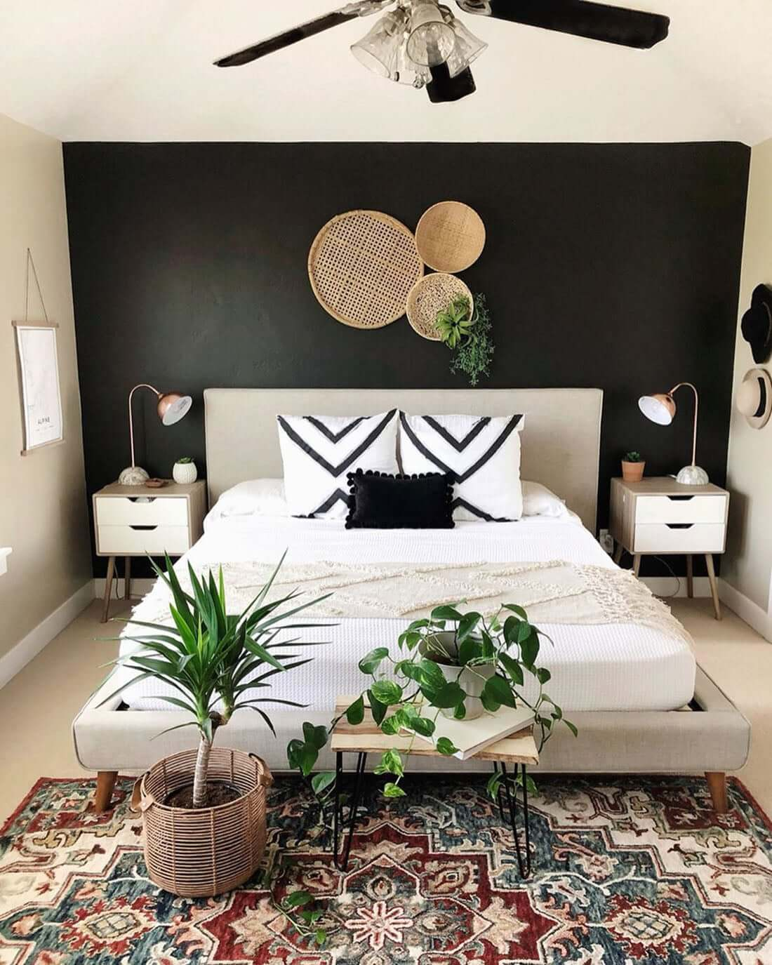 Breezy Bohemian Black and White Bedroom