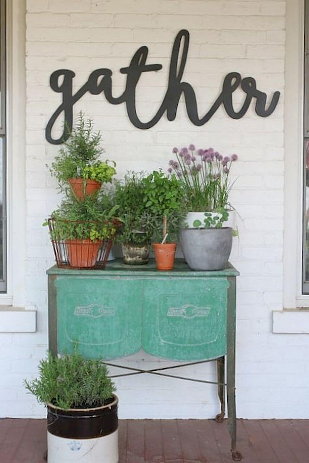 Vintage Metal Table with Plenty of Planters