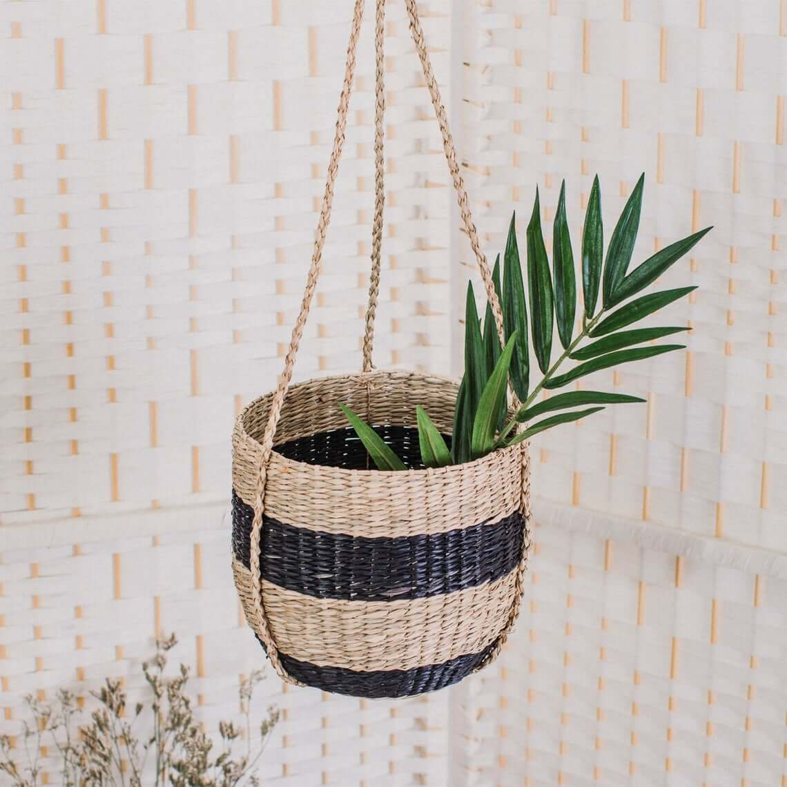 Bold Black and Beige Striped Hanging Planter
