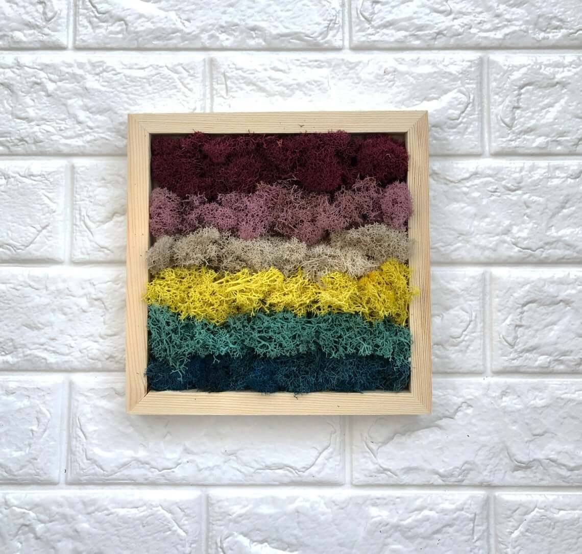 Colorful Dried Moss Art Frame