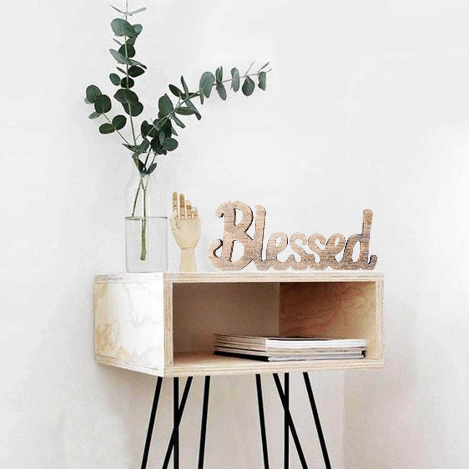 Natural Wood Freestanding Blessed Cut-Out Sign