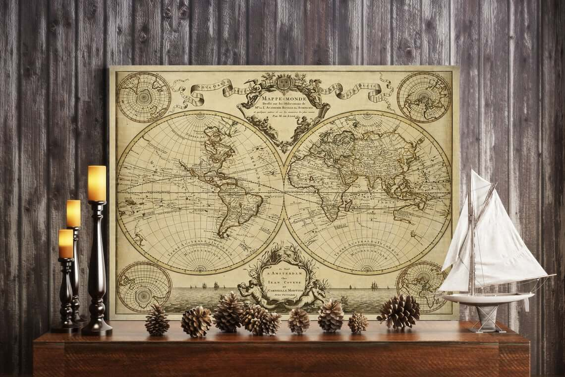 Antique Guillaume de L'Isle World Map