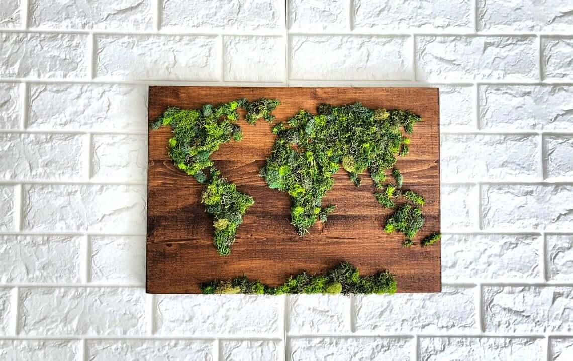 Beautiful Map Moss Wall Decor
