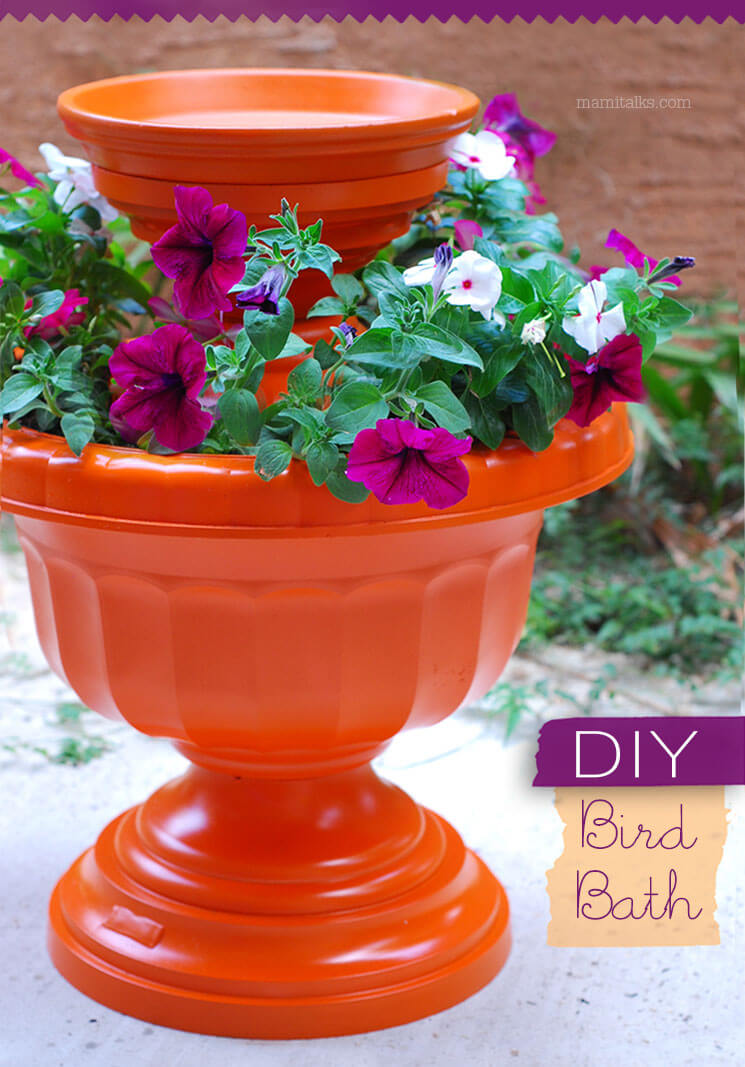 Flower Planter with Built-in Bird Bath