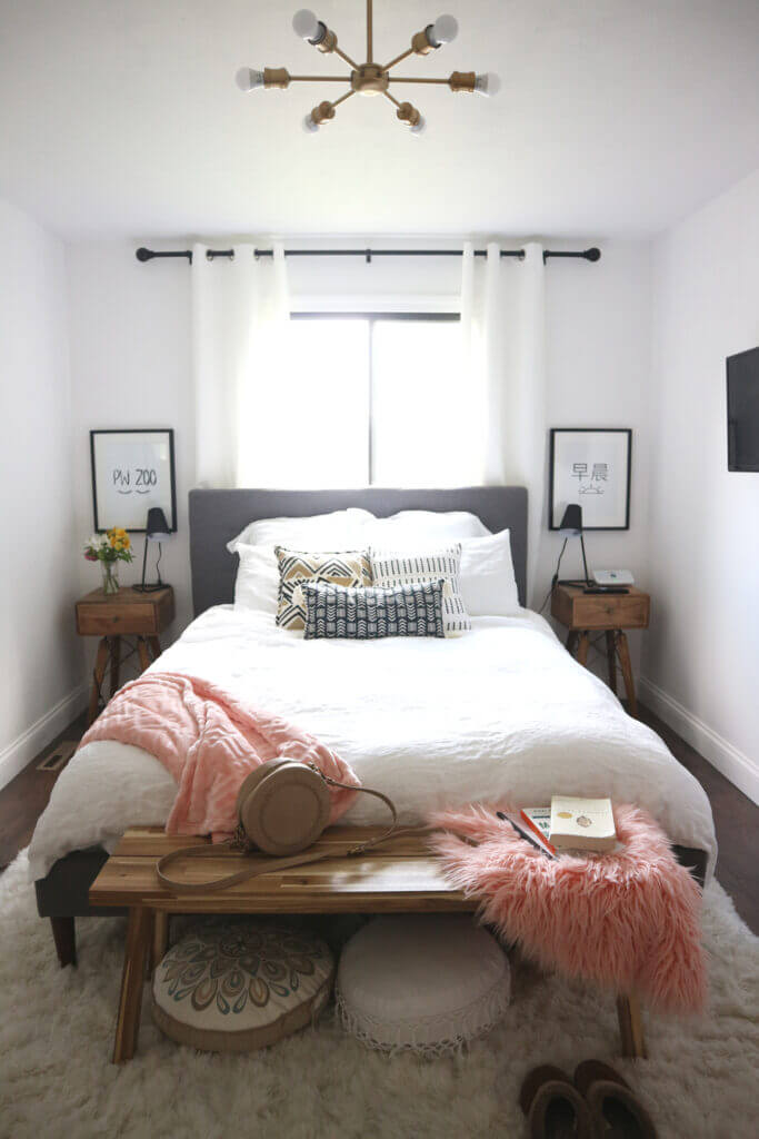 Small Bedroom with Natural Light & Pink Pops