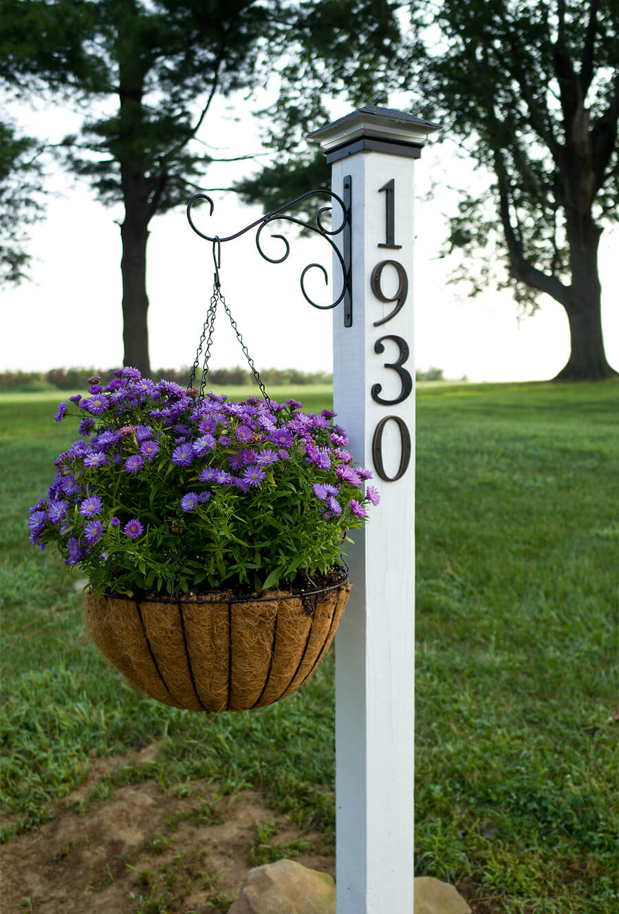 House Number Pillar with Hanging Plant