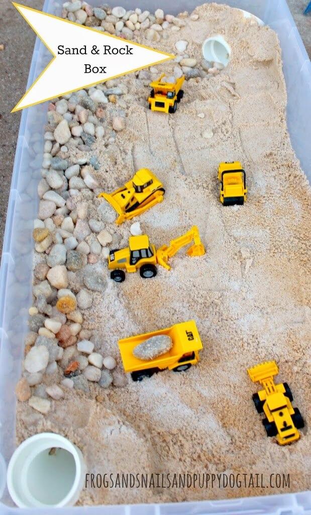 A Construction-Themed Rock Box Sensory Bin
