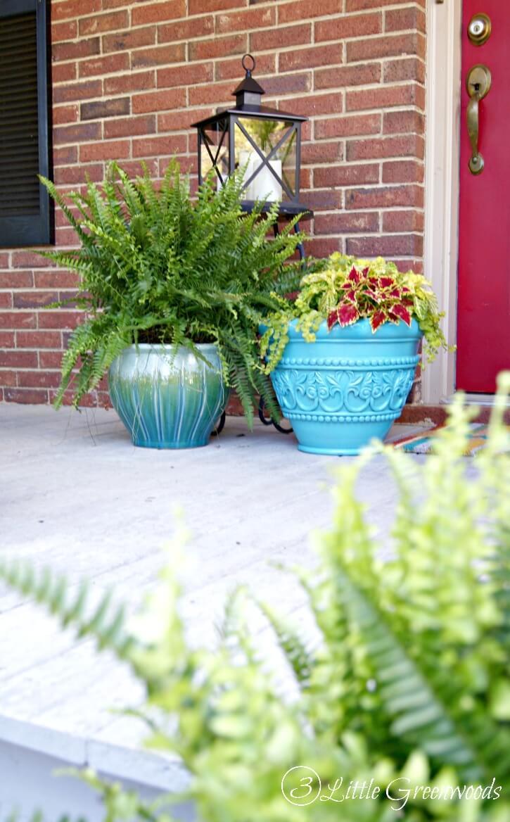 Decorative Teal Urn Front Porch Planters