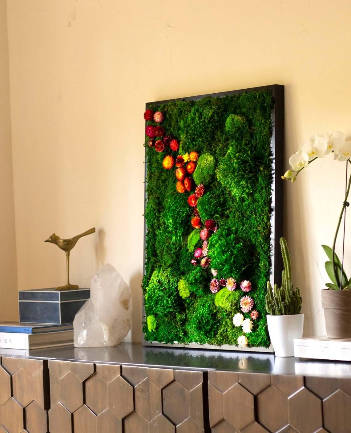 Real Flower Power Moss Wall Decor