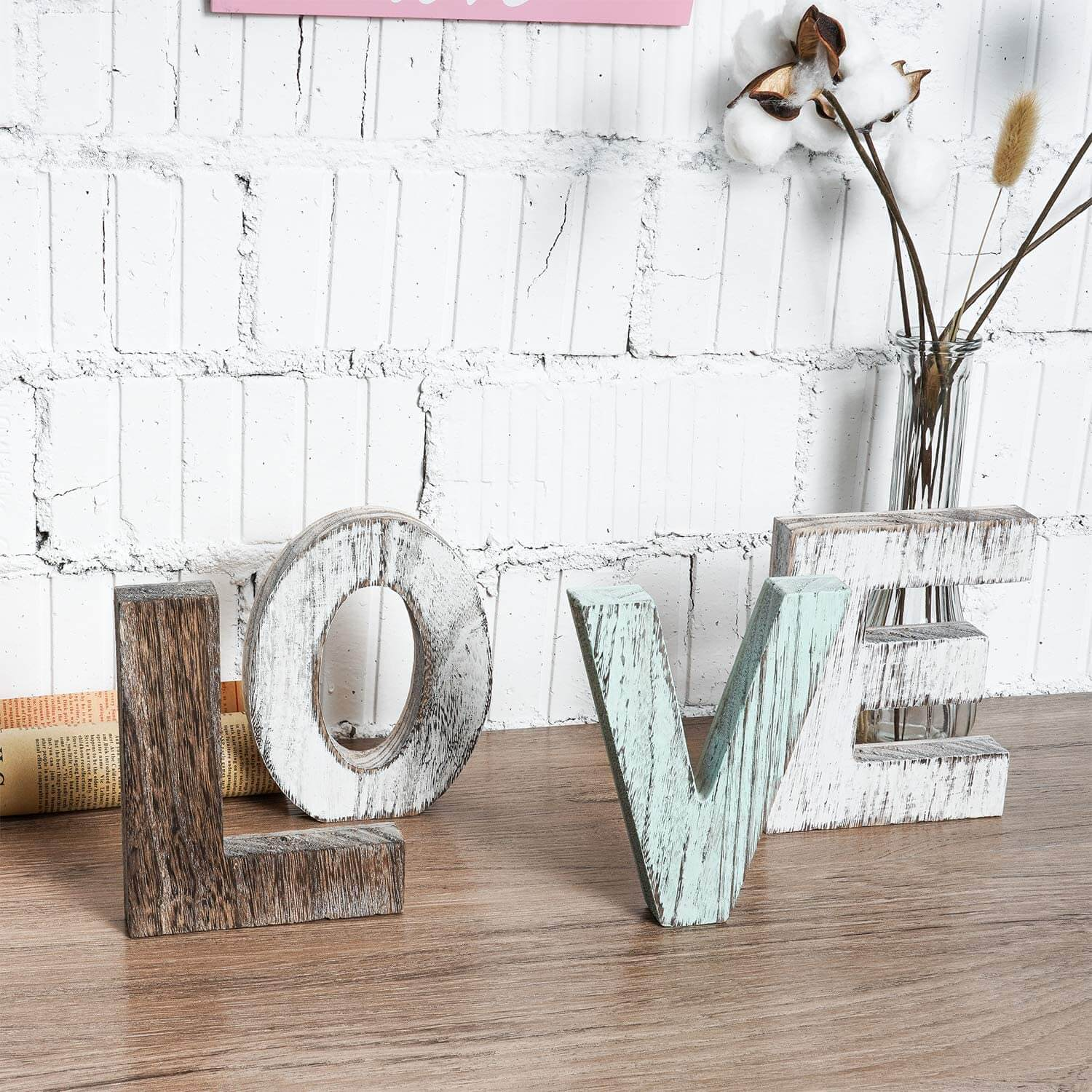 Freestanding Farmhouse Style LOVE Wooden Lettering
