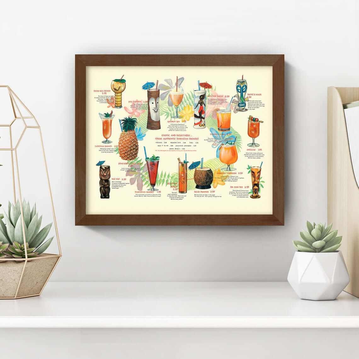 Vintage 1940s Tiki Cocktail Menu Poster