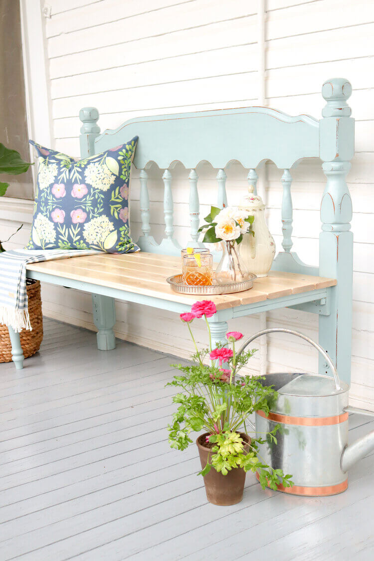 Repurposed Wooden Headboard to Porch Bench