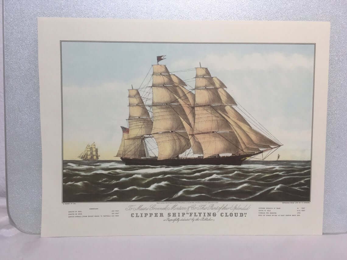 Vintage Ocean Clipper Ship Poster