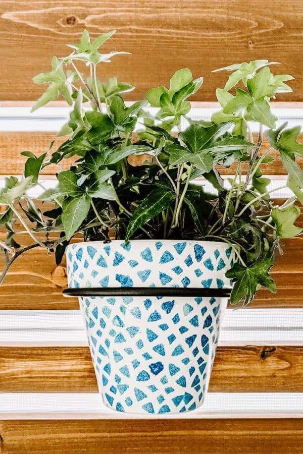 Stenciled Stain Glass Traditional Porch Planter