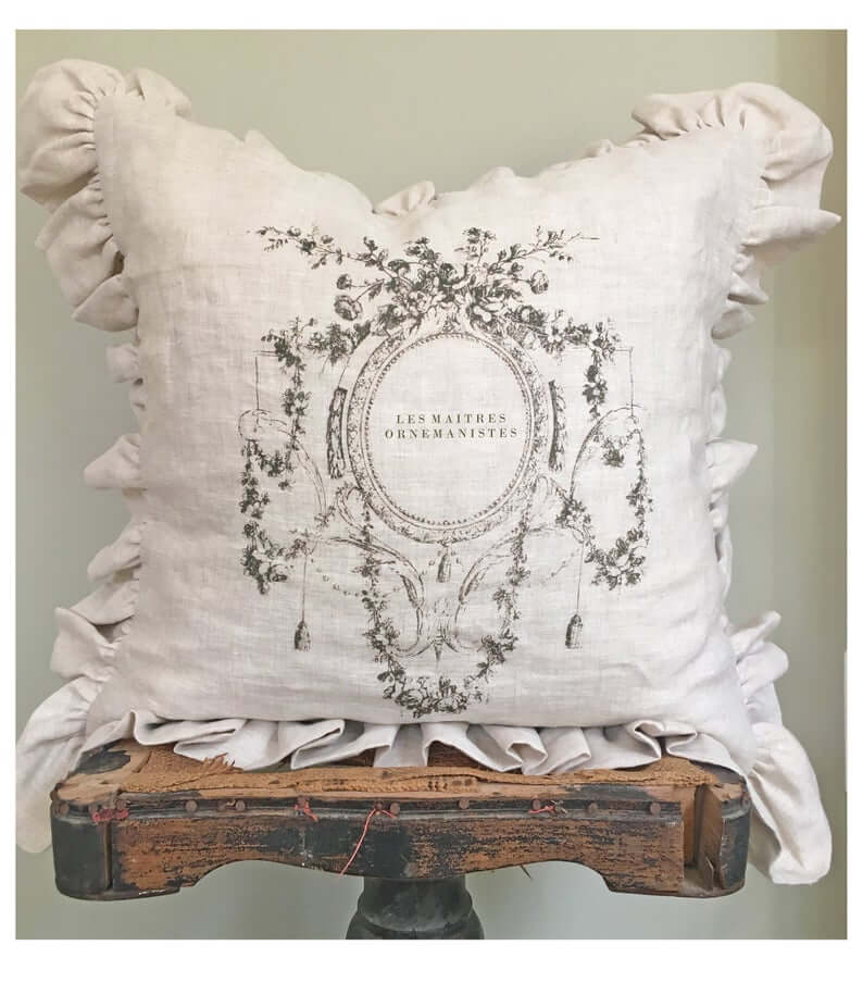 Old White Linen Ruffled Throw Pillow