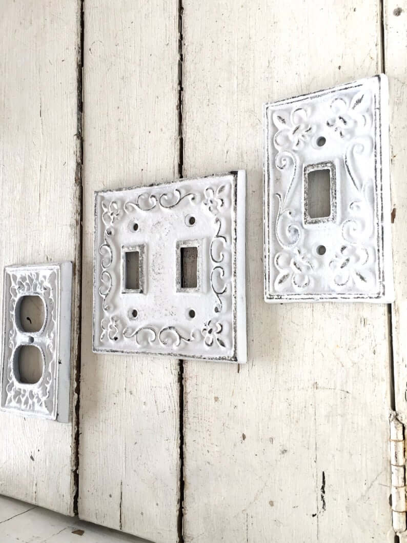 Switch and Outlet French Detail White Distressed Metal Plates