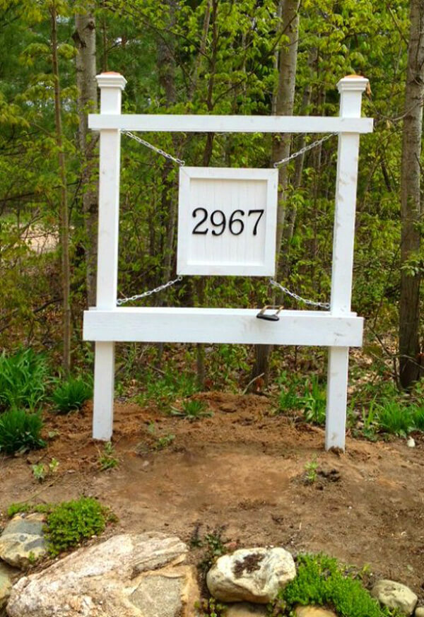 Large Hanging House Number Sign