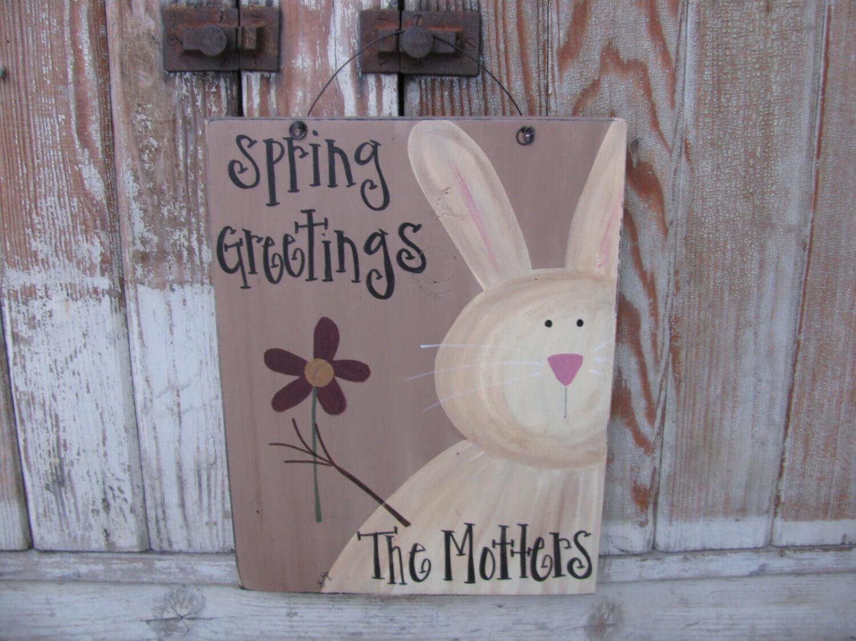 Personalized Primitive Spring Sign Decor