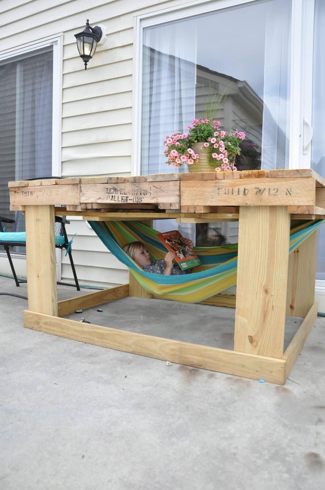 Versatile Outdoor Table and Hammock Retreat