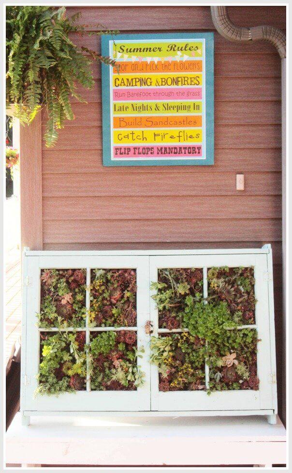 Upcycled Vertical Succulent Window Garden