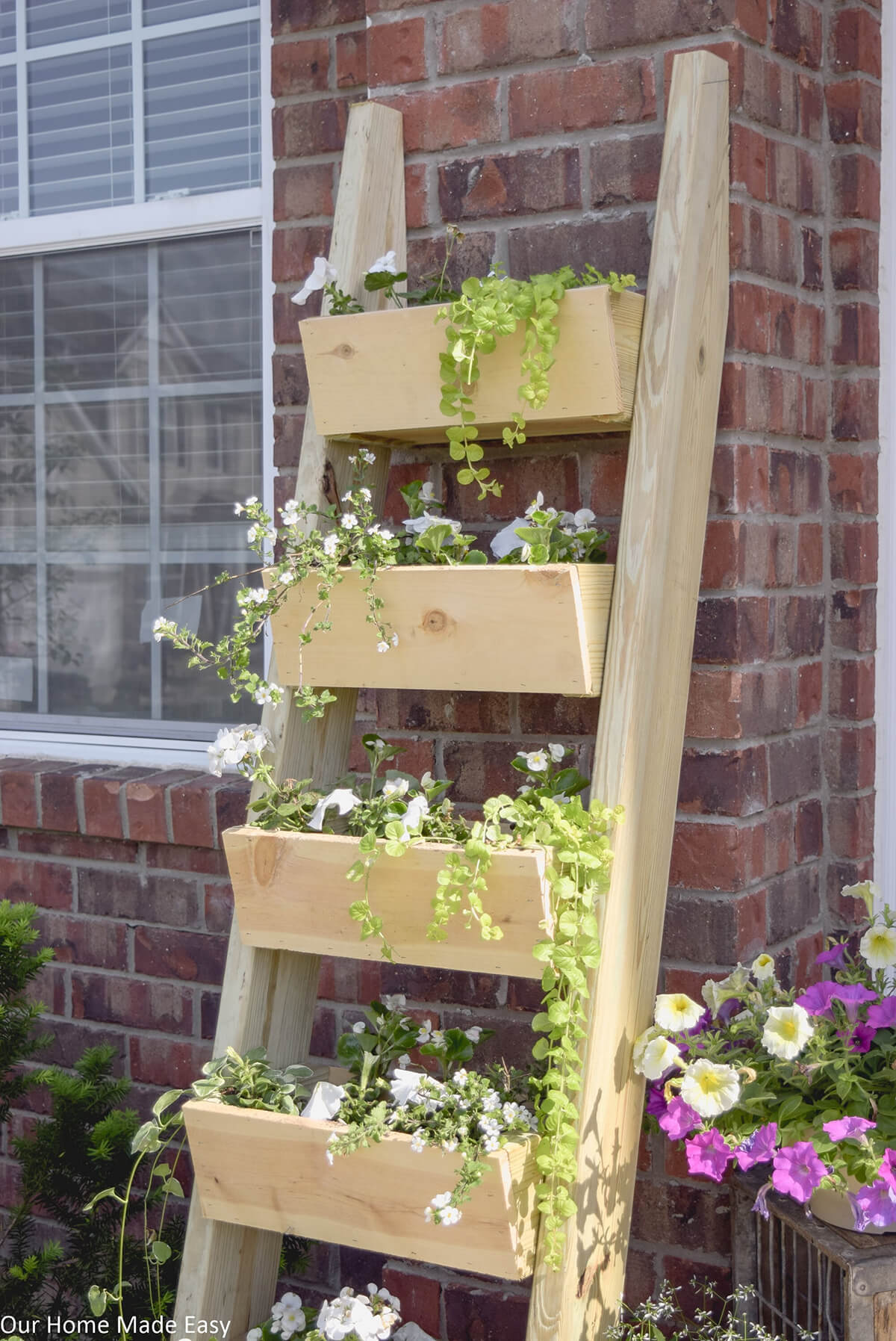 Wooden Plant Ladder with Trough Steps