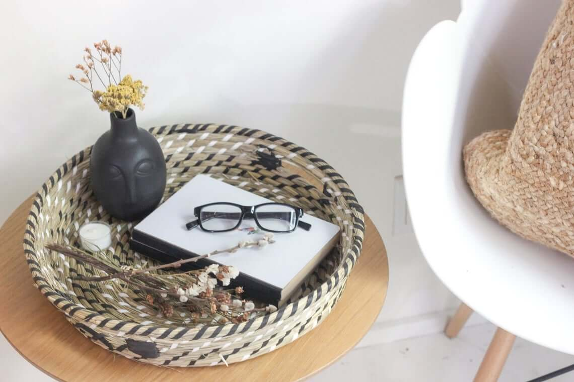 Shallow Black, White, and Beige Catchall Basket
