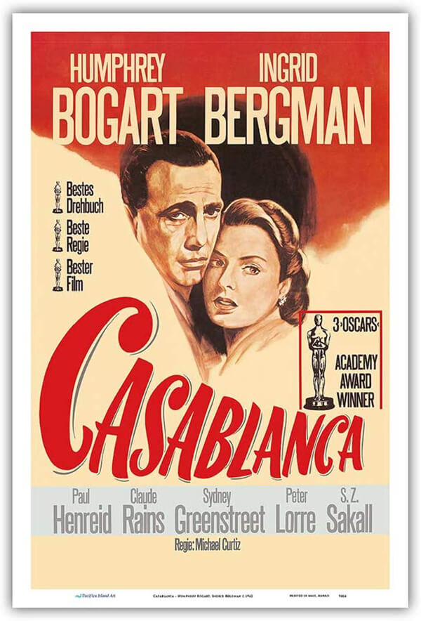 Casablanca Film Poster as a Metal Sign