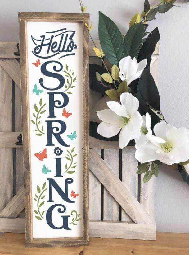 "Framed ""Hello Spring"" Wooden Art"
