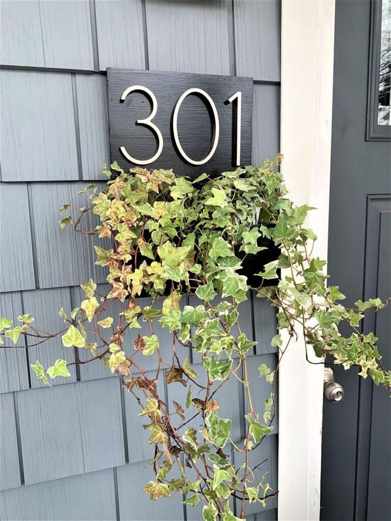 Modernized DIY Address Planter Box