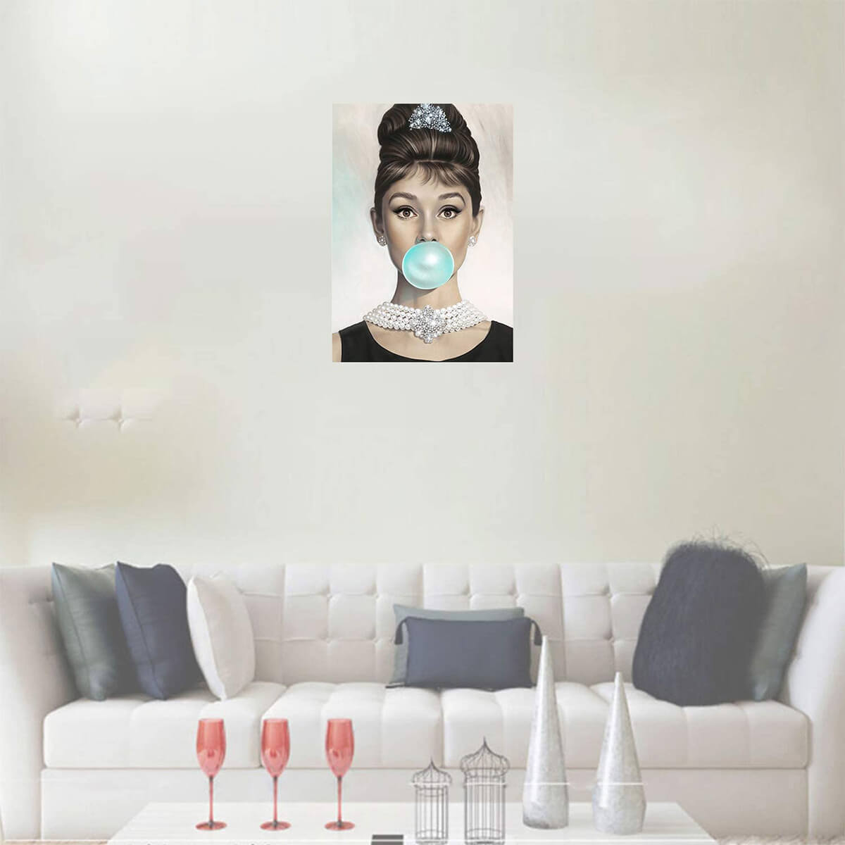 Audrey Hepburn Blowing Blue Bubblegum Canvas