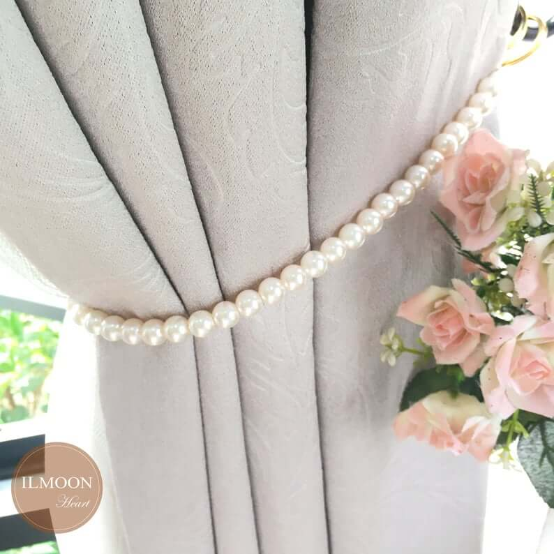 worn shabby curtain Tieback or sheer metal painted with roses decor