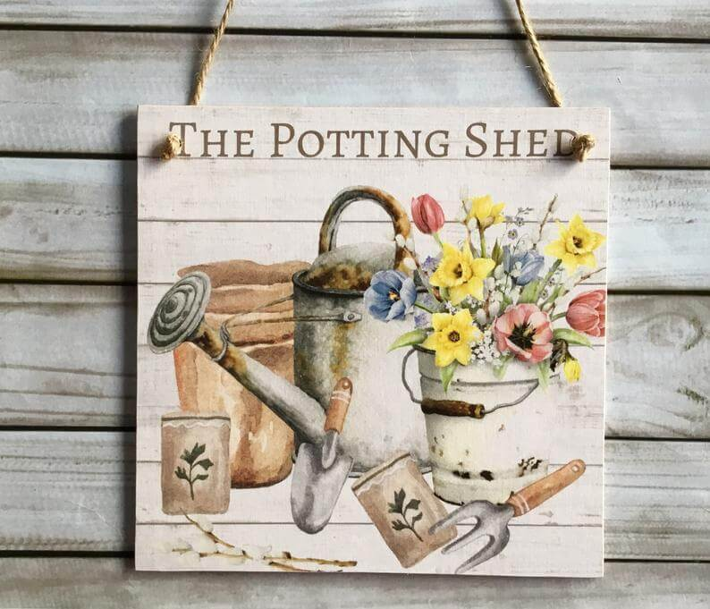 The Potting Shed Wooden Plaque