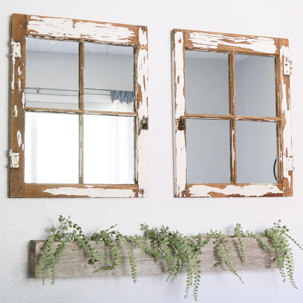 Distressed Window Beautiful Mirror Makeover