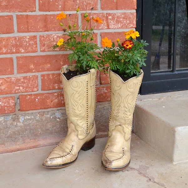 Shabby Chic Upcycled Boot Planter
