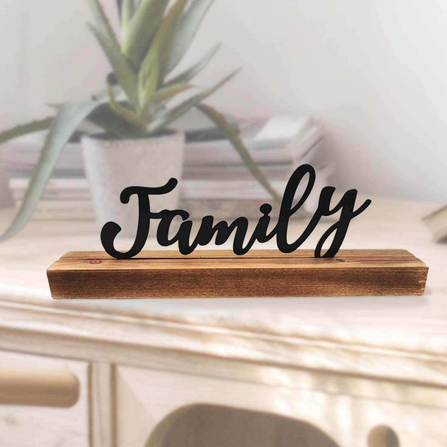 Metal Cut-Out Family Wooden Sign