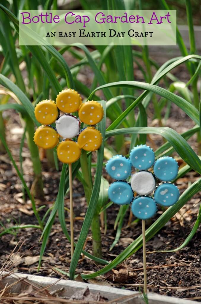 Cool Bottle Cap Flowers for Spring Garden Décor