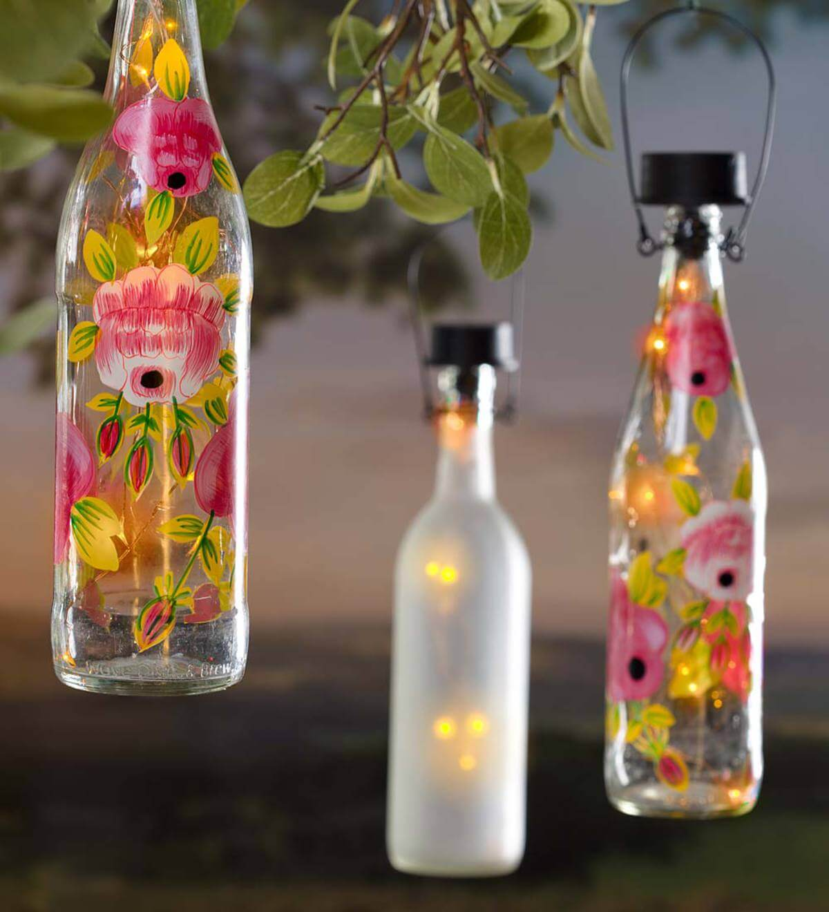 Hanging Solar Bottles Turned Lanterns