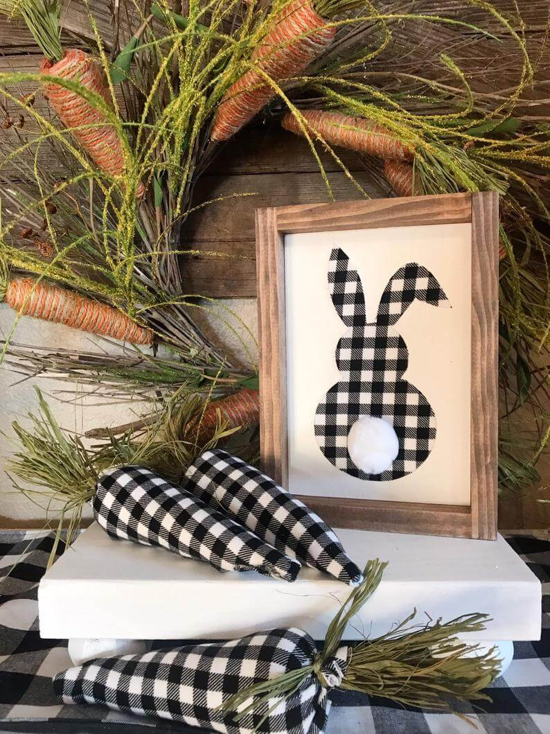 Buffalo Check Bunny Sign and 3-D Carrots