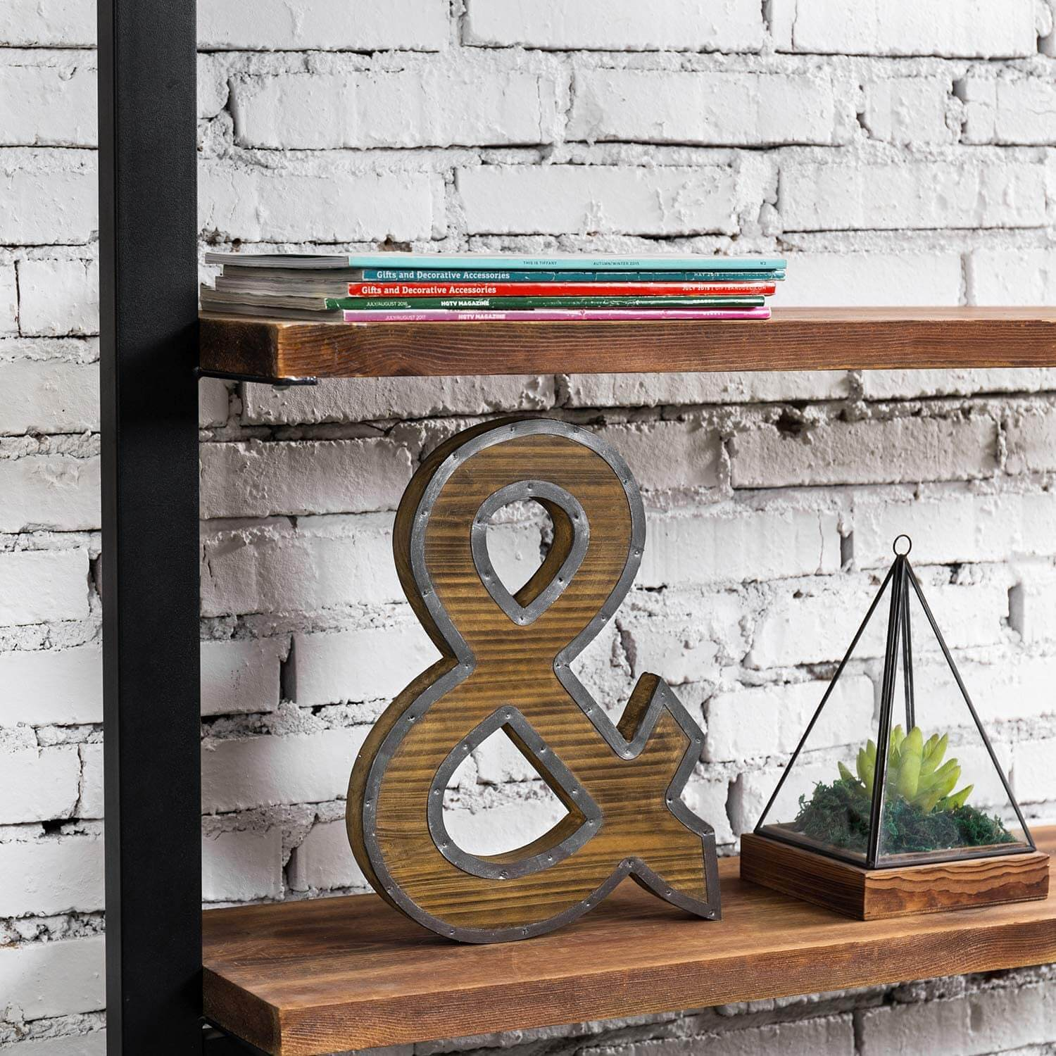 Monogram Wooden Metal Ampersand Décor