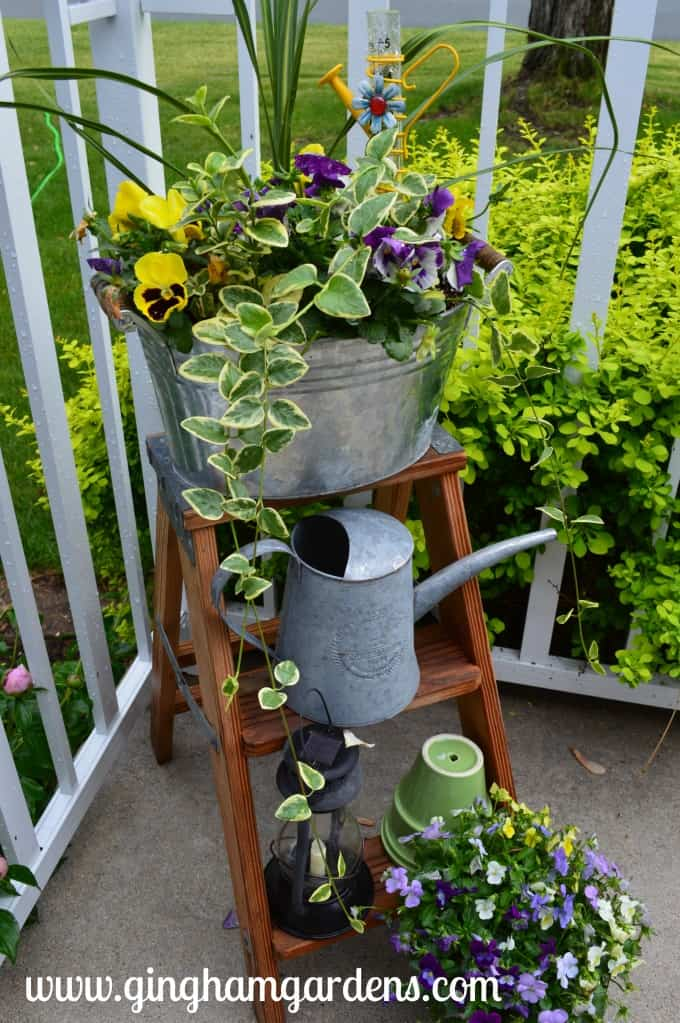 The Perfect Spring Vignette Using a Step Ladder