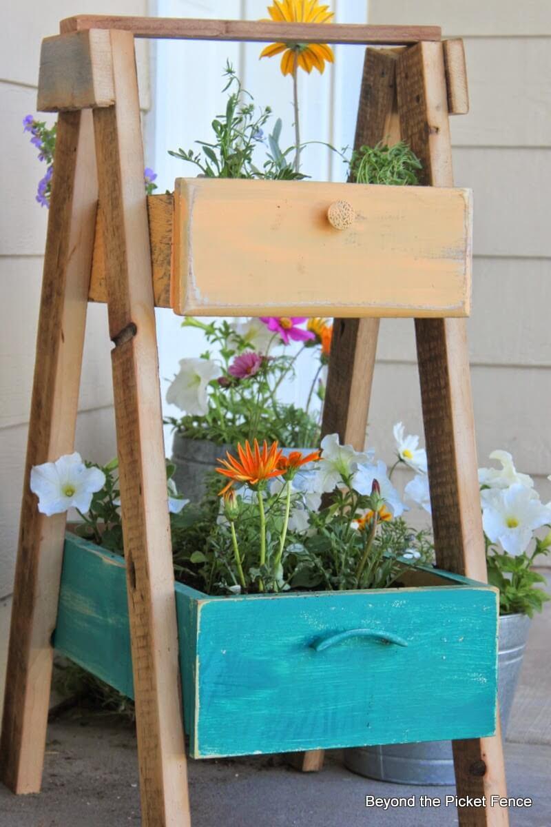 Whimsical Repurposed Ladder Plant Shelf