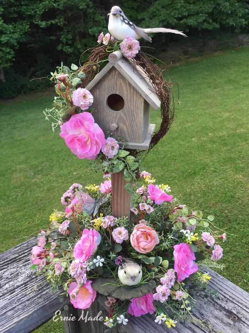 A Lovely Spring Garden Decor Birdhouse with Floral Delights