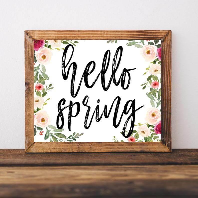 """Hello Spring"" Sign Decor Digital Download"