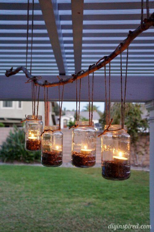 Mason Jar Chandelier with Tea Lights