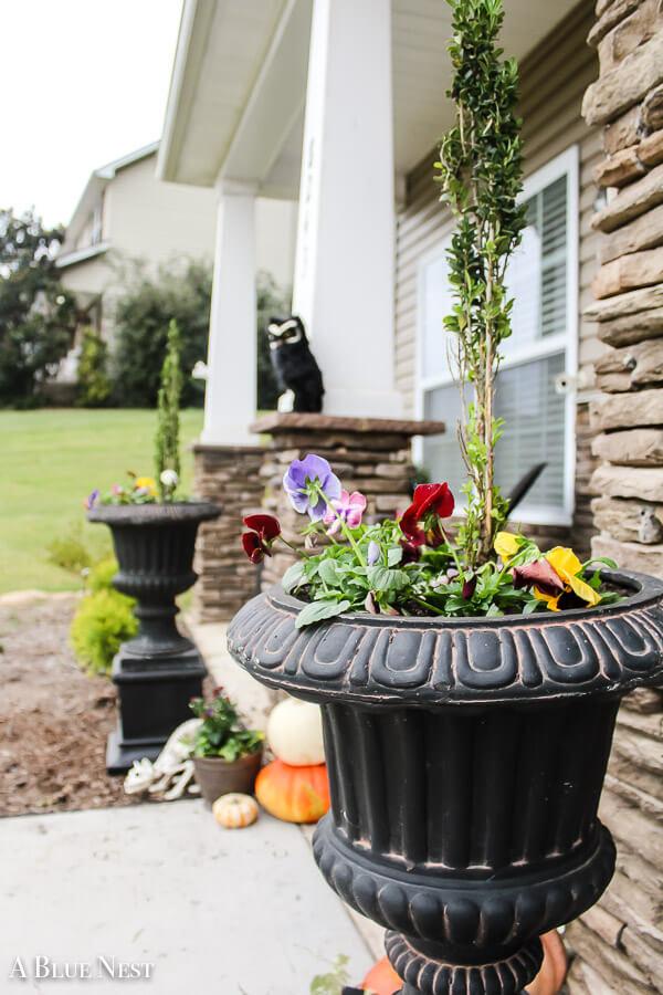 Fluted Black Pedestal Urn Planters