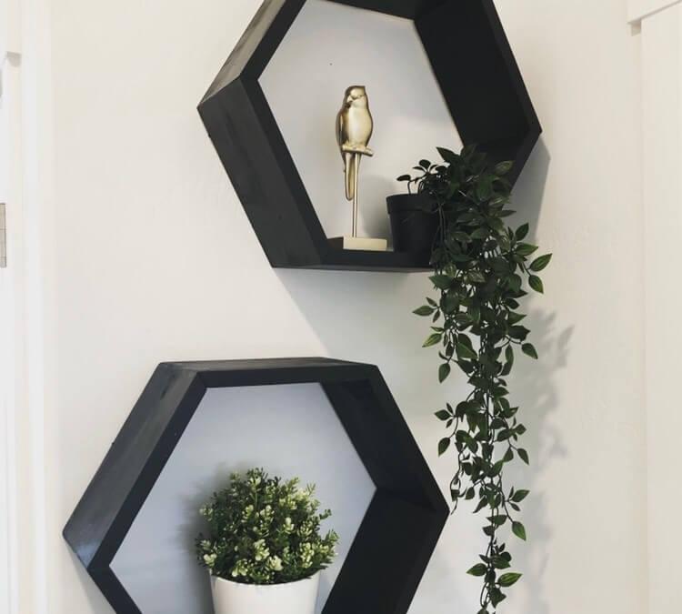 Easy to Accessorize Hexagon Shelves