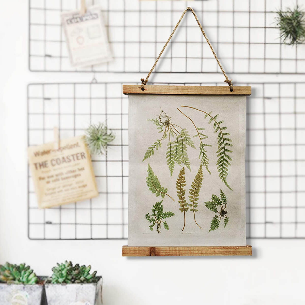 Rustic Fern Botanical Illustrations Hanging Cloth